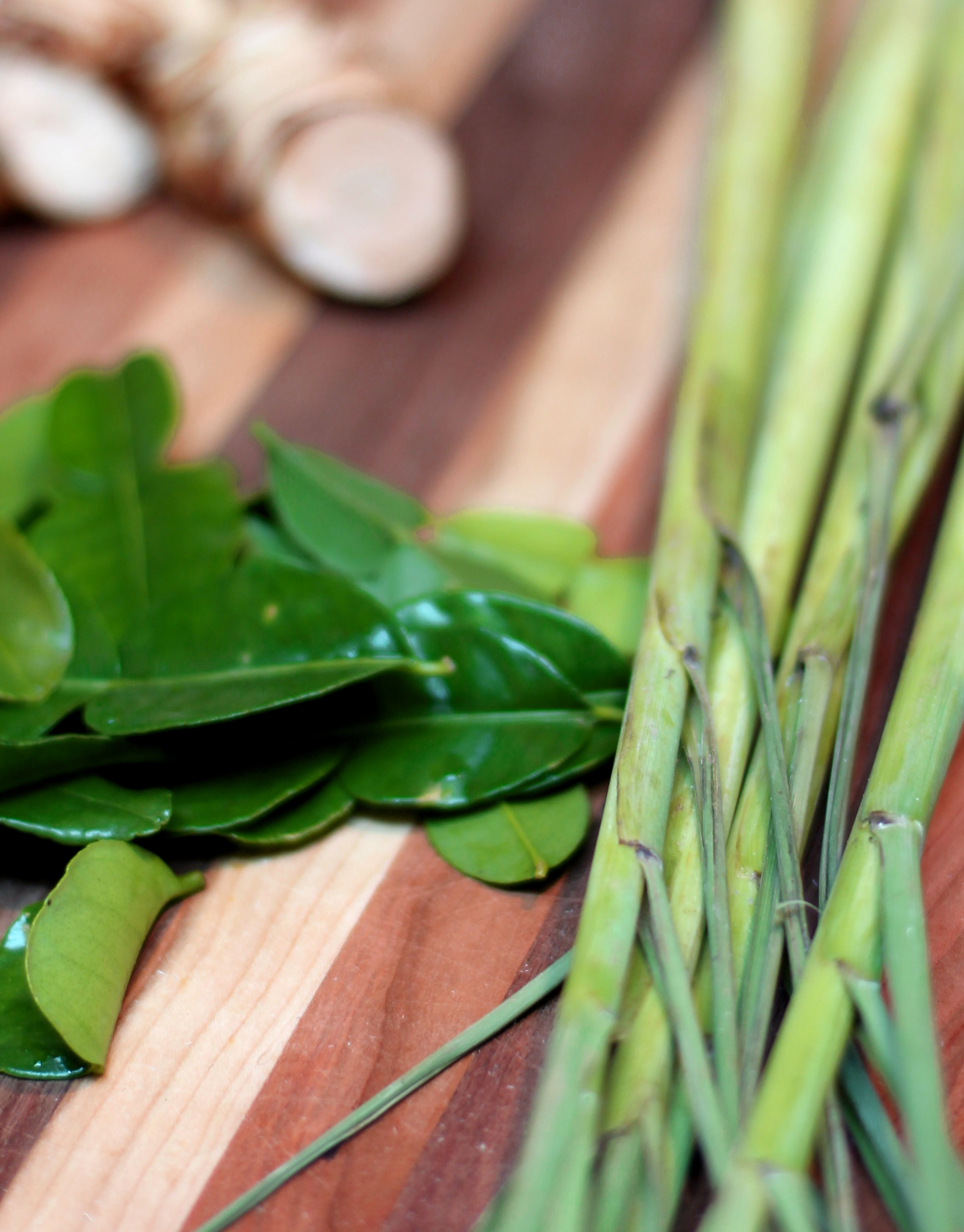 Kaffir lime leaves and lemongrass
