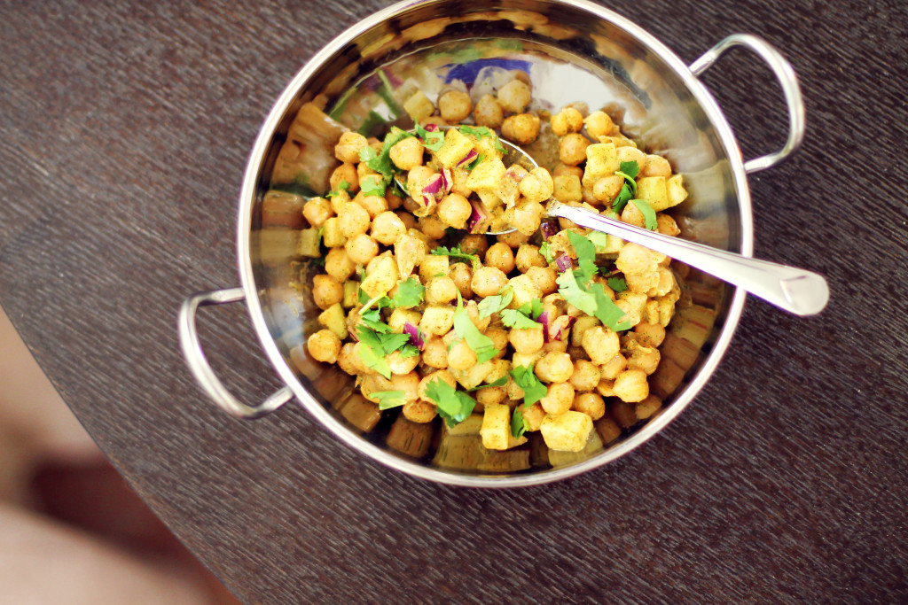 Chaat Salad- recipe for refreshing Indian salad with chickpeas, cucumbers, and cilantro.