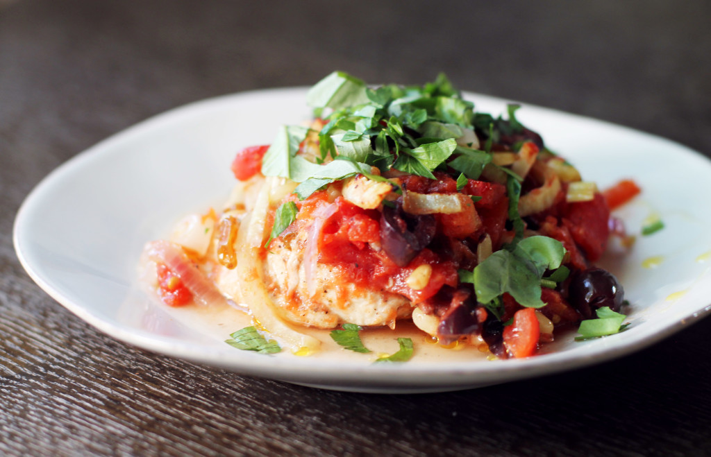 Chicken breasts pounded thin, topped with fabulous Mediterranean flavors of tomato, olive, fennel, raisins, and pine nuts. So simple and so healthy!