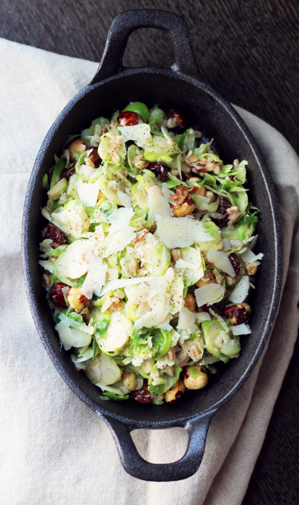 Brussel Sprout Salad with Cherries and Farro- a gourmet side dish for late summer.