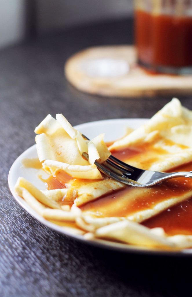 Your new dream come true... Rye Whiskey Caramel drizzled over Julia Child's crepe recipe. To die for.