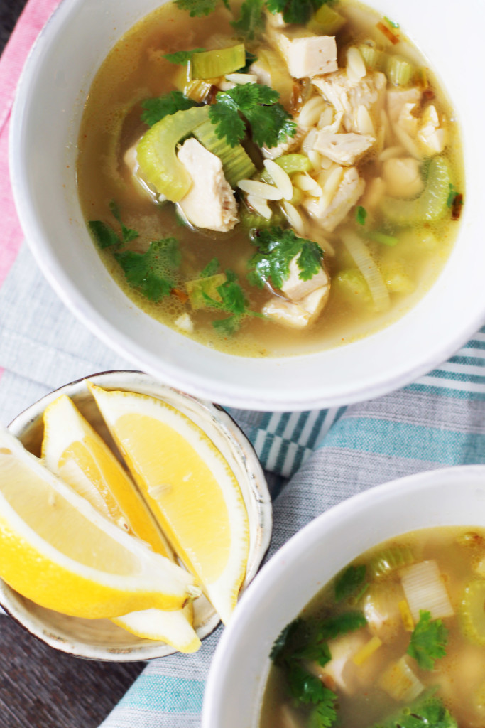 Delicious from-scratch chicken soup with orzo, brightened with cilantro and a squeeze of lemon.
