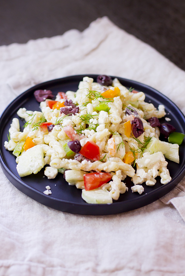 Creamy greek pasta salad with dill and feta. Fresh flavors, and SO easy!
