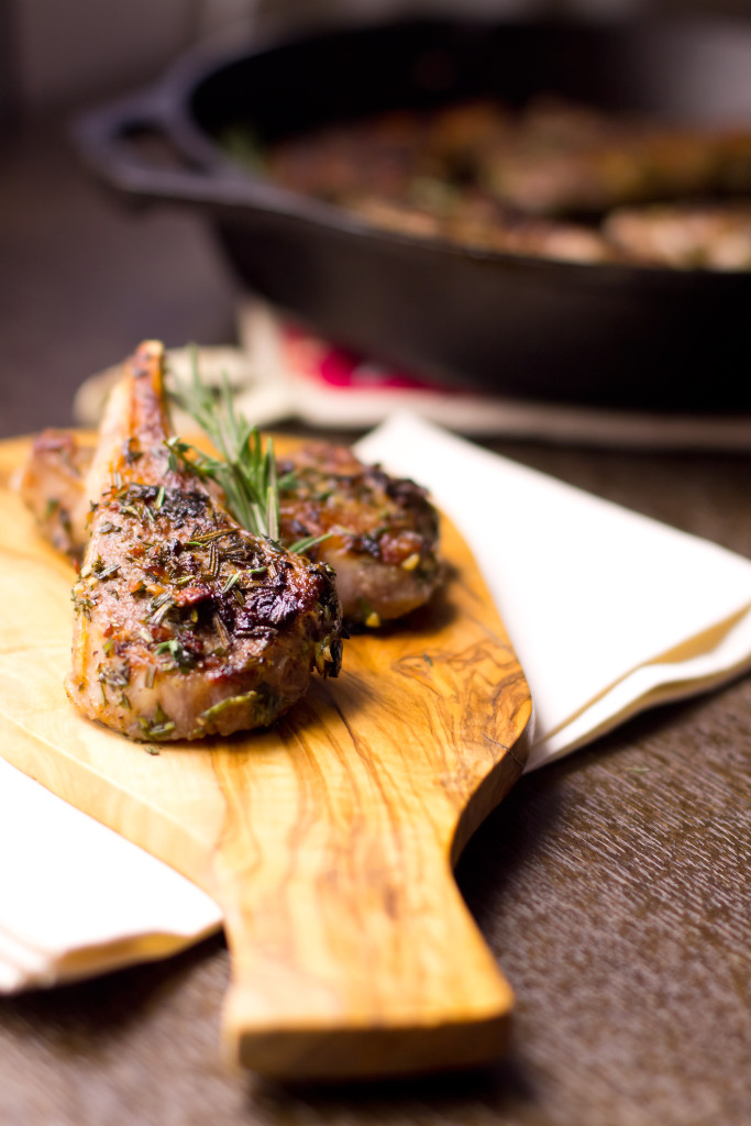 Flavorful lamb chops slathered with herbs and garlic, pan seared to perfection. Quick and easy gourmet.