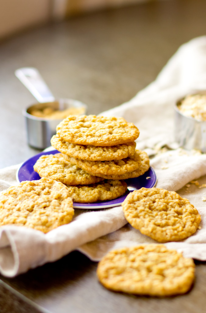 These sweet little oatmeal cookies are thin like lace and oh so chewy. I dare you to eat just one.