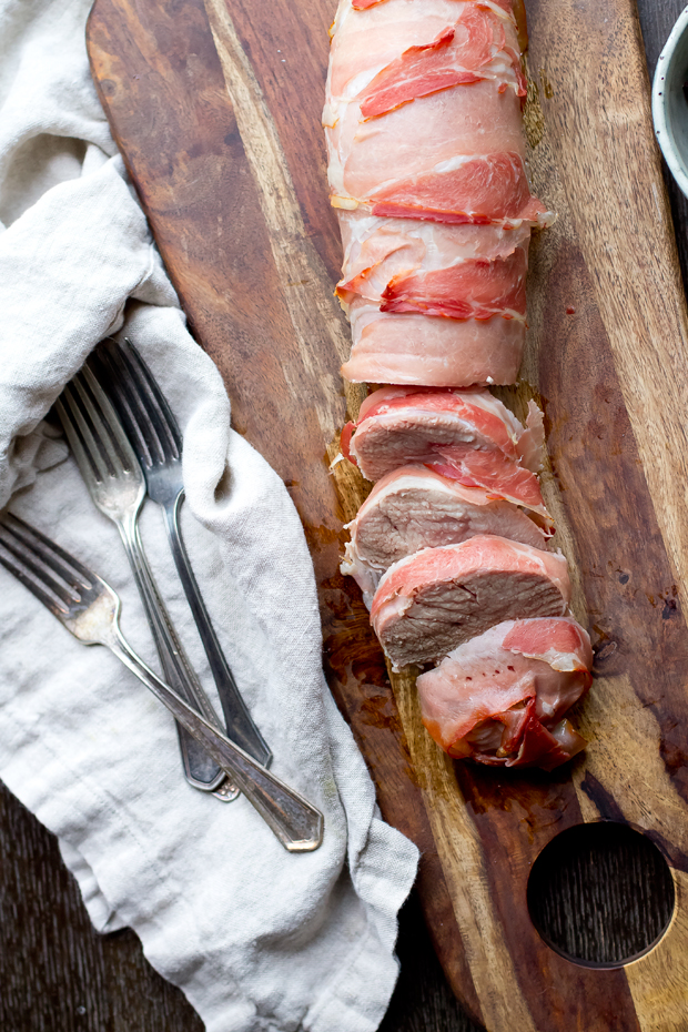 Prosciutto Wrapped Pork Tenderloin with Fig Sauce.