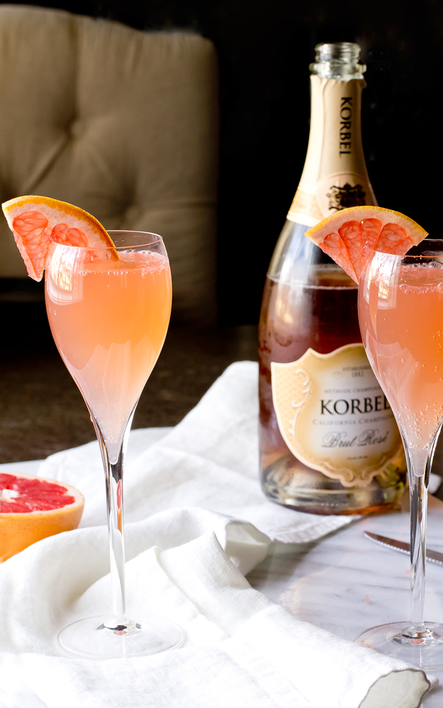 Pink Grapefruit Mimosas - THE GOURMET GOURMAND