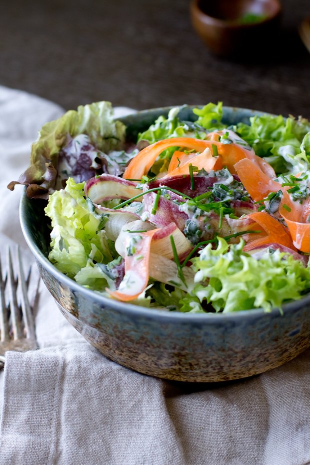 Buttermilk Ranch Salad with Rainbow Carrots