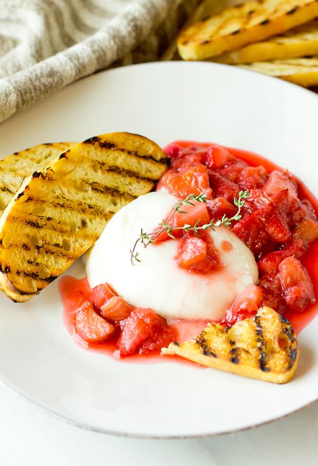 Burrata with Strawberry Rhubarb Compote - thegourmetgourmand.com