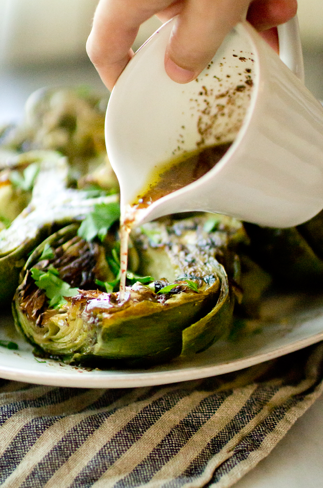 Grilled Artichokes with Sumac Dressing- thegourmetgourmand.com