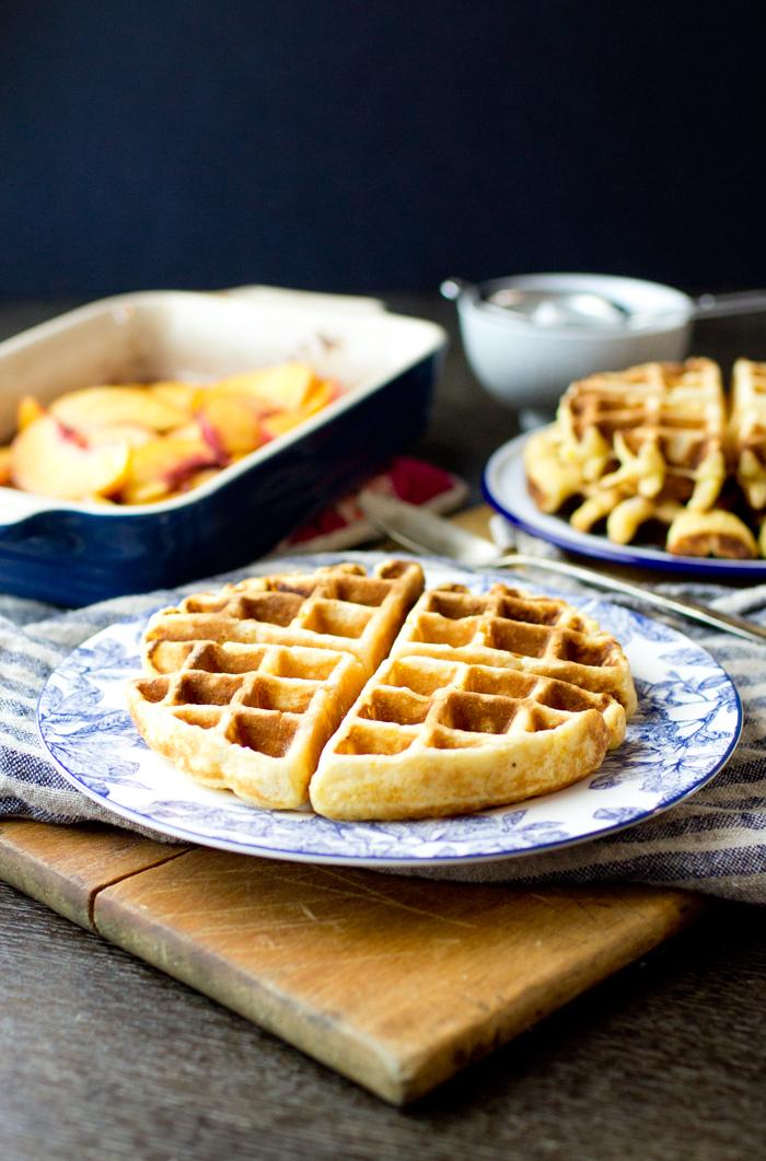 Cornmeal Waffles with Bourbon Peaches - thegourmetgourmand.com