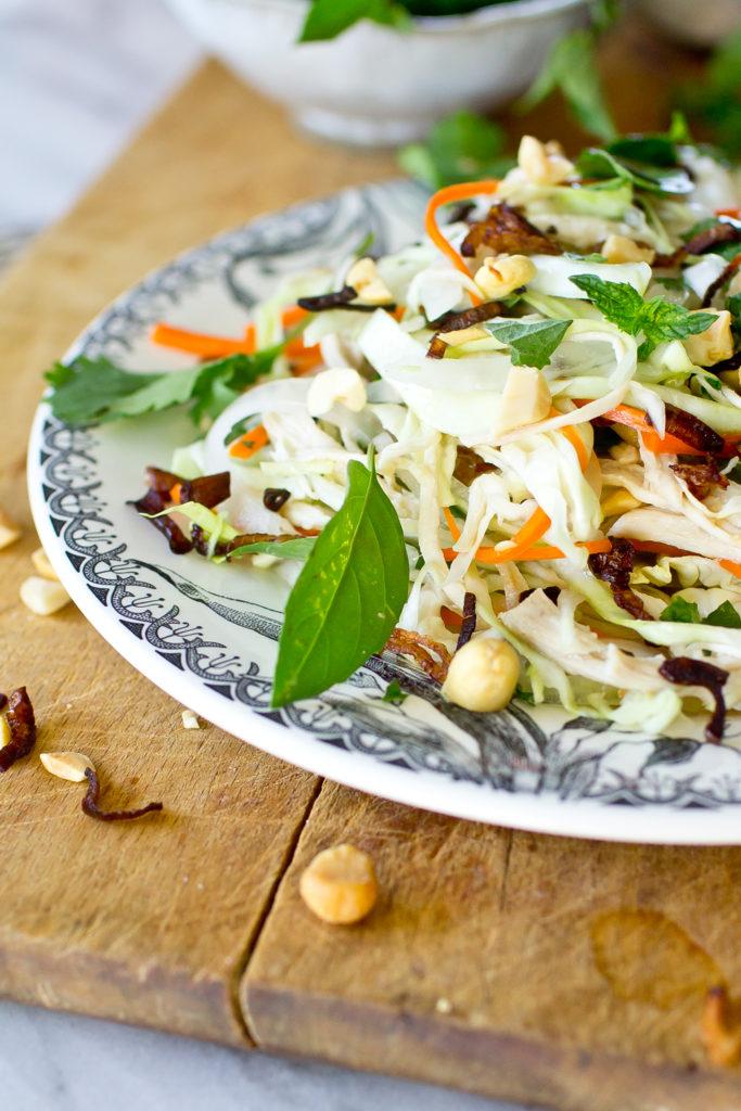 Vietnamese Chicken Salad side view, close up