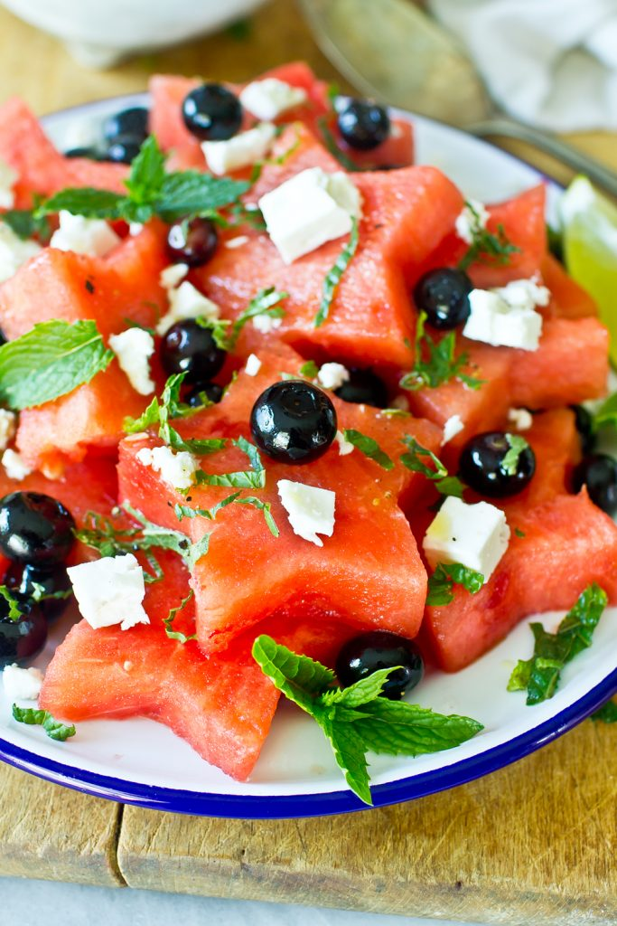 Watermelon, Blueberry, and Feta Salad