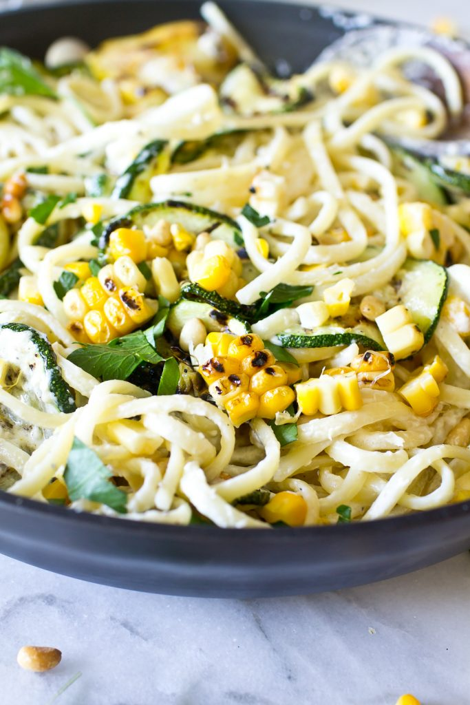 Corn and Zucchini Pasta Alfredo