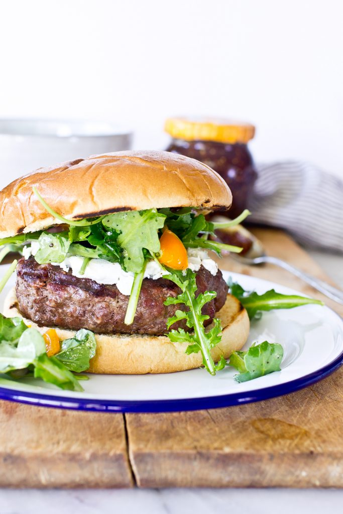 Burger with Fig and Goat Cheese