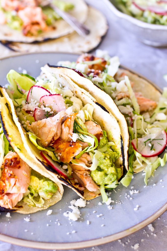 Salmon Tacos with Dill Slaw
